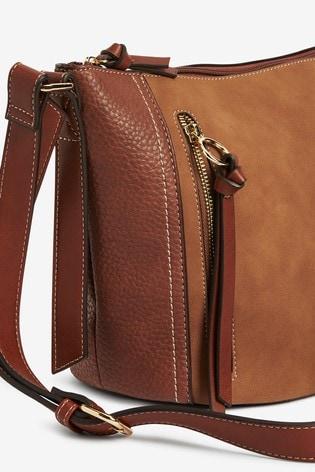 Tan Zip Detail Across-Body Bag