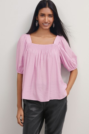 Lilac Square Neck Puff Sleeve Top