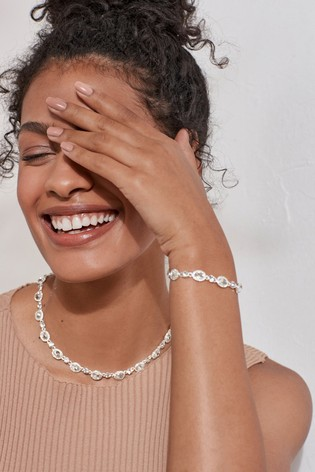 Silver Tone Pavé Crystal Effect Bracelet