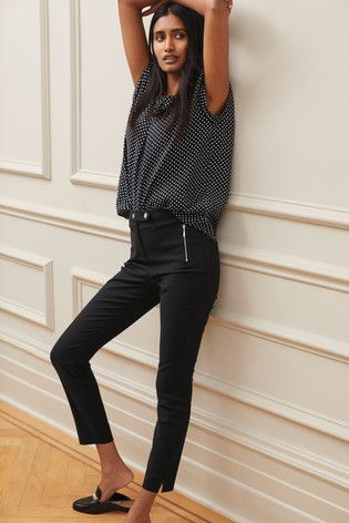 Black Elastic Back Skinny Zip Detail Trousers