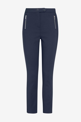 Navy Elastic Back Skinny Zip Detail Trousers