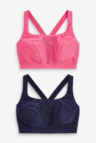 Navy/Pink Sports High Impact Crop Tops 2 Pack