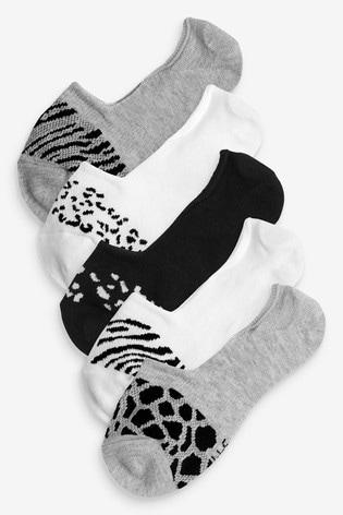 Monochrome Animal Mesh Insert Invisible Socks Five Pack