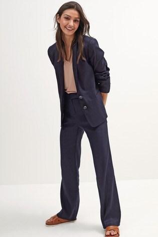 Navy Linen Blend Single Breasted Blazer