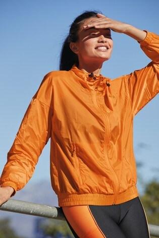 Orange Zip Through Running Jacket