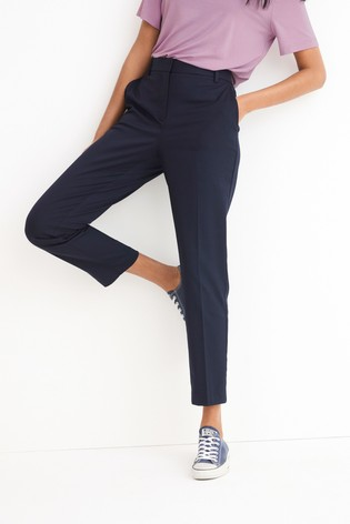Navy Tailored Slim Trousers