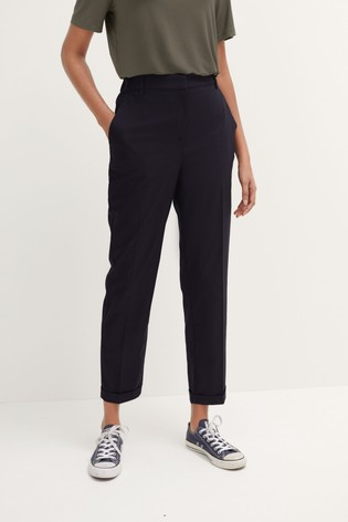 Navy Tailored Taper Trousers