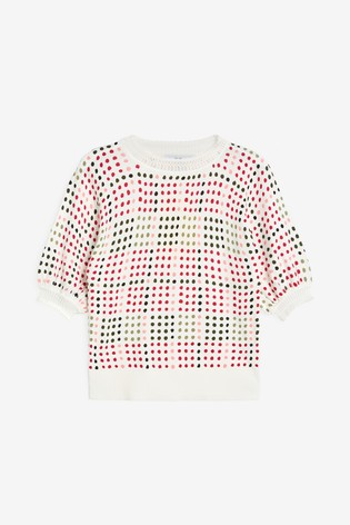 White Print Crew Neck T-Shirt