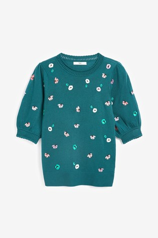 Teal Embroidered Crew Neck T-Shirt