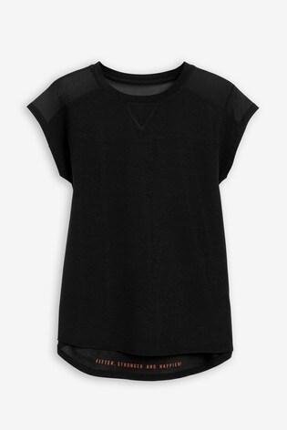 Black Short Sleeve Mesh Panel T-Shirt