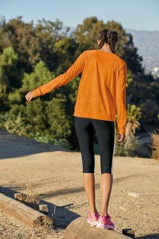Black/Orange Colourblock Sculpting Sports Capri Leggings