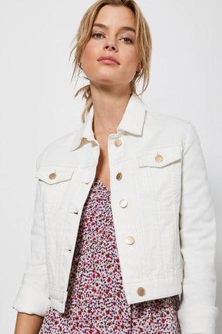 Mint Velvet Off White Cropped Denim Jacket