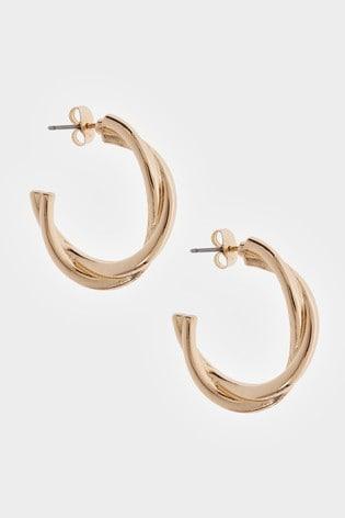 Mint Velvet Gold Tone Twist Hoop Earrings