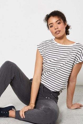 Mint Velvet White Striped Cotton T-Shirt