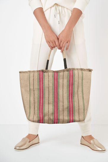 Multi Stripe Jute Tote Bag