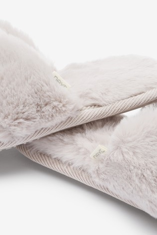 Pale Grey Recycled Faux Fur Slider Slippers