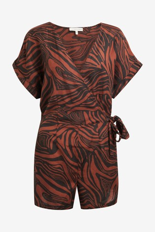 Tiger Print Wrap Playsuit