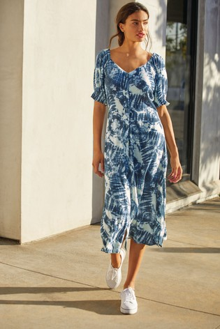 Blue Tie Dye Button Front Midi Dress