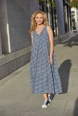 Blue Floral Maxi Swing Dress