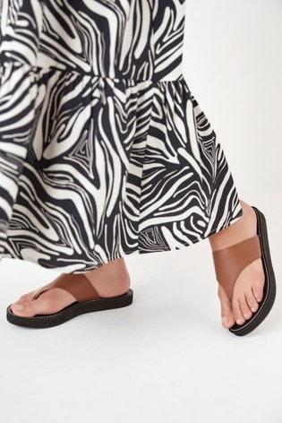 Tan Regular/Wide Fit Platform Toe Post Mules