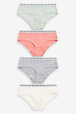 Colour Short Cotton Rich Logo Knickers 4 Pack