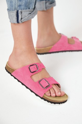 Pink Suede Two Band Footbed Mules