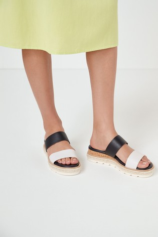 Navy/White Two Band Mule Wedges