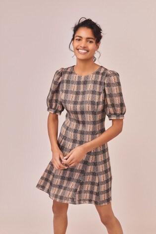 Grey Check Puff Sleeve Mini Dress