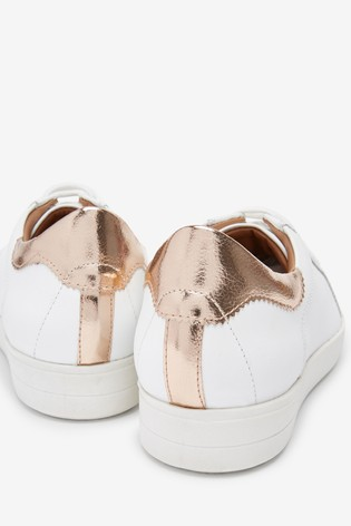 White/Rose Gold Signature Leather Lace-Up Trainers