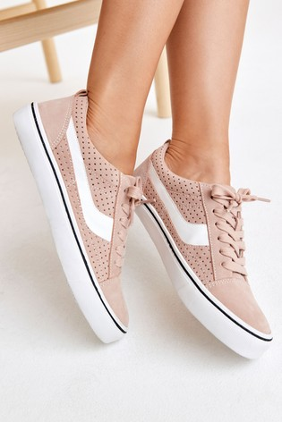 Pink Lace Up Suede Side Detail Trainers