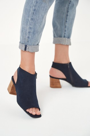 Navy Block Heel Slingback Shoe Boots