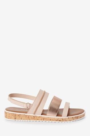 Rose Gold Regular/Wide Fit Forever Comfort® Cork Effect Flatform Sandals