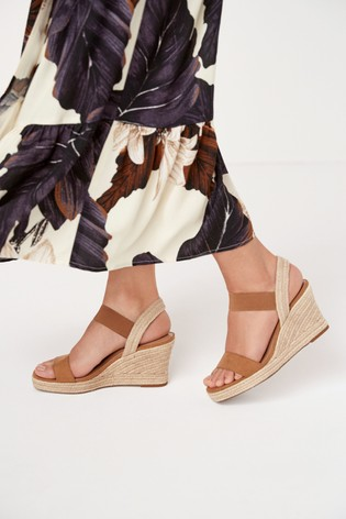 Tan Regular/Wide Fit Square Toe Espadrille Wedges