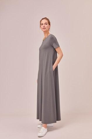 Charcoal Column Maxi T-Shirt Dress