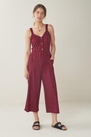 Berry Button Front Jumpsuit
