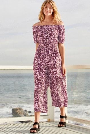 Berry Print Off The Shoulder Jumpsuit