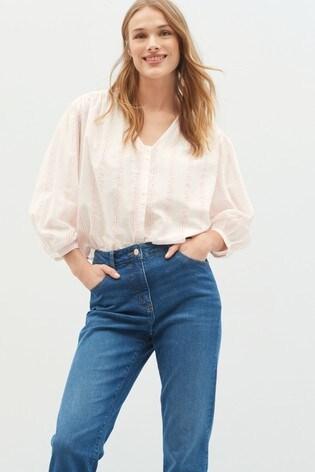 Fluro Pink Stripe Cotton V-Neck Blouse