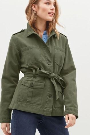 Khaki Belted Utility Jacket