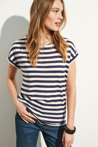 Linen Blend Navy/White Stripe Curved Hem T-Shirt
