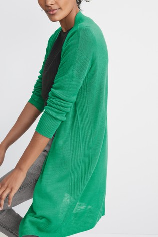 Green Long Rib Detail Cardigan