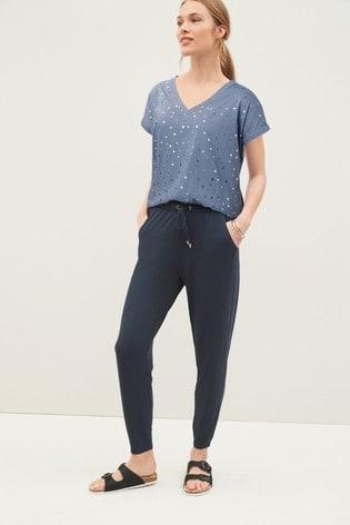 Blue Foil Star V-neck Curved Hem T-Shirt