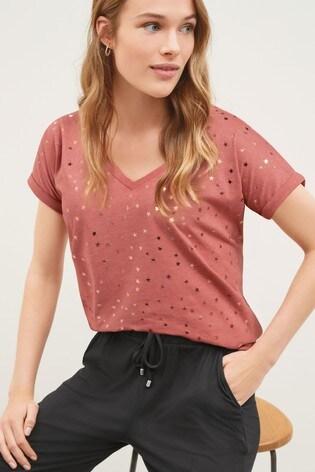 Pink Foil Star V-neck Curved Hem T-Shirt