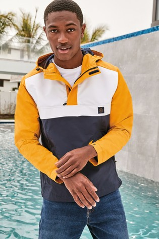 Ochre Shower Resistant Colourblock Overhead Jacket With Mesh Lining
