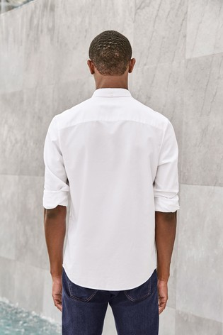 White Regular Fit Long Sleeve Oxford Shirt