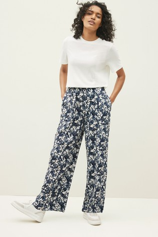 Navy Marble Print Wide Leg Trousers