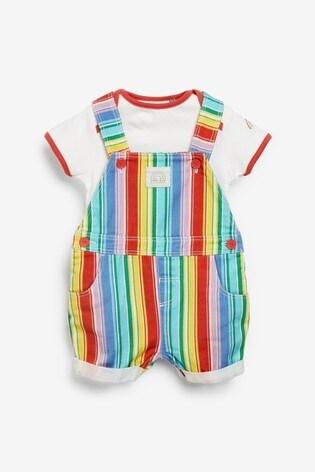 Little Bird Rainbow Stripe Dungarees And Bodysuit Set