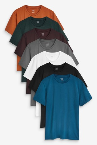 Teal Mix Regular Fit Crew Neck T-Shirts Seven Pack