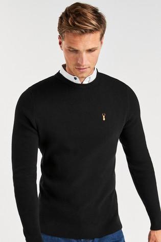 Black Crew Neck Mock Shirt Jumper