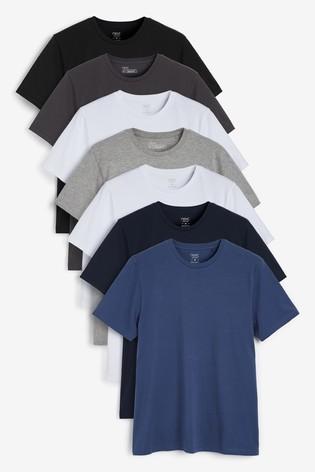 Grey Mix Regular Fit Crew Neck T-Shirts Seven Pack