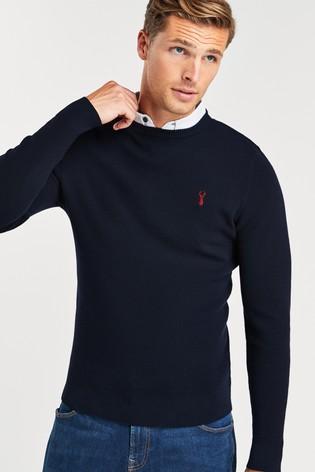 Navy Blue Crew Neck Mock Shirt Jumper